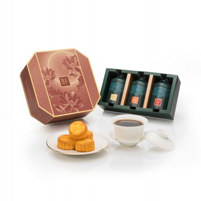 Mini Egg Custard Mooncakes with Chinese Tea Trio